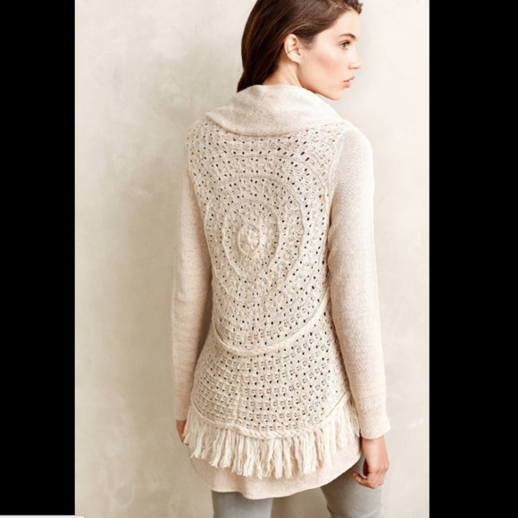 88aa131d0 Anthropologie Sweaters - Knitted   Knotted Fringe Circle Cardigan Sweater